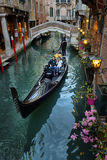 Gondolas on canal in Venice, Stock Images