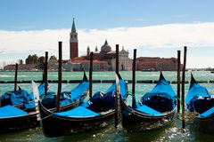 Gondolas on the canals of Venice Royalty Free Stock Photos