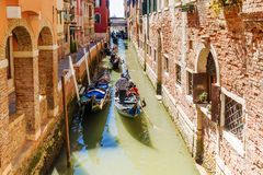 Gondolas on canals of Venice,Italy Royalty Free Stock Images