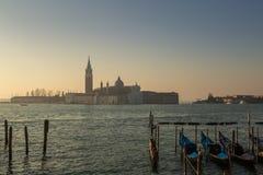 Gondolas and Church of San Giorgio Maggiore in Venice Stock Images