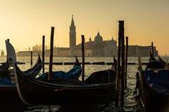 Gondolas and Church of San Giorgio Maggiore in Venice Royalty Free Stock Images