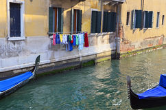 Gondolas and clothes Royalty Free Stock Images