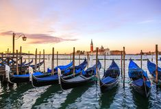 Gondolas in colorful Venice Italy royalty free stock images