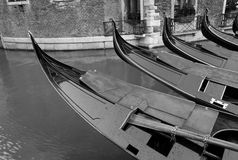 Gondolas at Dawn (Black and White) Venice, Italy Stock Photography