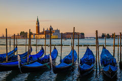 Gondolas at dawn, Venice, Italy Stock Photo