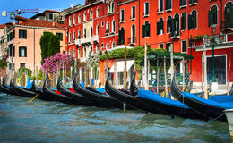Gondolas at the dock. Venice. Stock Photos