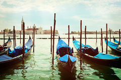 Gondolas docked on Piazza San Marco Venice Royalty Free Stock Images