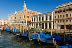 Gondolas  and Doge palace, Venice, Italy Royalty Free Stock Image