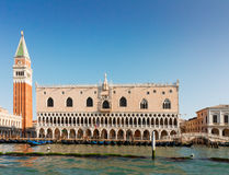 Gondolas  and Doge palace, Venice, Italy Stock Photo