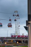 Gondolas of the Emirates Air Line cable car in London on a rainy day Royalty Free Stock Photos