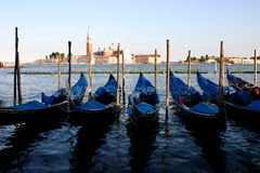 Gondolas at evening. Near Piazza San Marco, Venezzia, Italy. San Giorgio Maggiore Church at the distance Stock Image