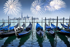 Gondolas and fireworks with San Giorgio Maggiore in the background, Venice Stock Image