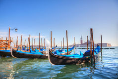 Gondolas floating in the Grand Canal Royalty Free Stock Photo