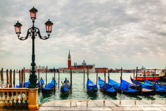 Gondolas floating in the Grand Canal Royalty Free Stock Photos