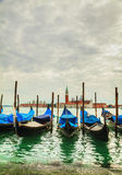 Gondolas floating in the Grand Canal of Venice Stock Photos