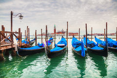 Gondolas floating in the Grand Canal of Venice Stock Photography