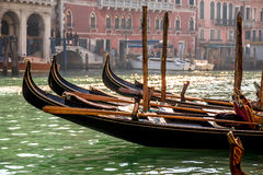 Gondolas floating on Grand Canal in Venice. Italy stock image