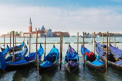 Gondolas floating in the Grand Canal, Venice Royalty Free Stock Photo