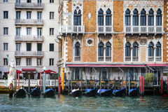 Gondolas in front of Hotel Bauer Palazzo Stock Photography