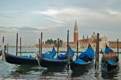 Gondolas in front of St Marks Stock Photography