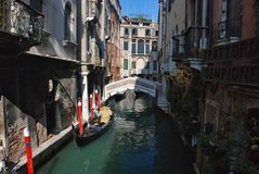 Gondolas and gondoler Royalty Free Stock Photos