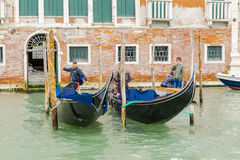 Gondolas with gondoliers in Venice Royalty Free Stock Photography
