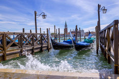 Gondolas and gondoliers Royalty Free Stock Photos