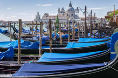 Gondolas and gondoliers Royalty Free Stock Image