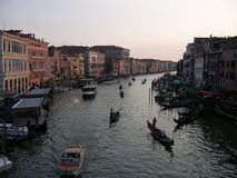 Gondolas on the Grand Canal. A line of gondolas on the Grand Canal, Venice at dusk royalty free stock photo