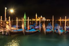 Gondolas on Grand Canal in front of San Giorgio Maggiore Royalty Free Stock Photo