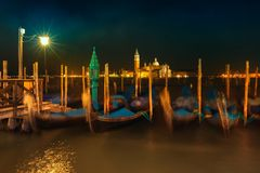 Gondolas on Grand Canal in front of San Giorgio Maggiore Royalty Free Stock Photography