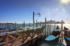 Gondolas on grand canal at noon. In Venice, Italy stock images