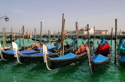 Gondolas on Grand Canal and San Giorgio Maggiore. Royalty Free Stock Photo