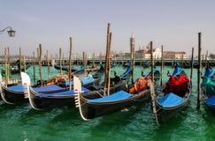 Gondolas on Grand Canal and San Giorgio Maggiore. Gondolas on Grand Canal and San Giorgio Maggiore church in Venice, Italy Royalty Free Stock Photo
