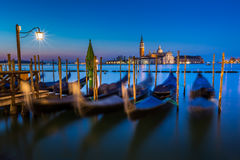 Gondolas, Grand Canal and San Giorgio Maggiore Church royalty free stock photography