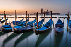 Gondolas, Grand Canal and San Giorgio Maggiore Church at Dawn Royalty Free Stock Images