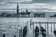 Gondolas on Grand Canal and San Giorgio Maggiore church. Royalty Free Stock Photography