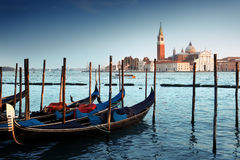 Gondolas on Grand Canal and San Giorgio Maggiore church Royalty Free Stock Photos