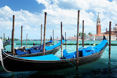 Gondolas on Grand Canal and San Giorgio Maggiore church Royalty Free Stock Image