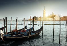 Gondolas on Grand Canal and San Giorgio Maggiore church Stock Images
