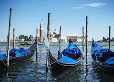 Gondolas on Grand Canal and San Giorgio Maggiore church in Venice, Italy Royalty Free Stock Photo