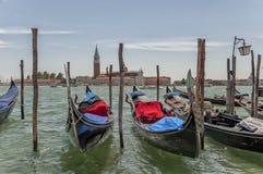 Gondolas on Grand Canal and San Giorgio Maggiore. Royalty Free Stock Image