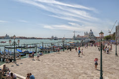 Gondolas on Grand Canal and San Giorgio Maggiore. Royalty Free Stock Photography