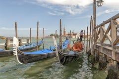 Gondolas on Grand Canal and San Giorgio Maggiore. Stock Photo
