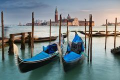 Gondolas on Grand Canal  of San Giorgio Maggiore Royalty Free Stock Image