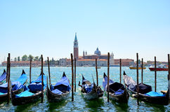 Gondolas on Grand Canal and San Giorgio Maggiore. Venice, Italy Stock Image