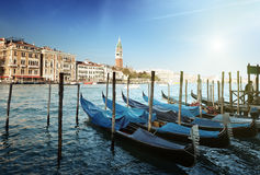 Gondolas and St Marks Tower Stock Photography