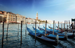 Gondolas on Grand Canal and St Marks Tower Stock Photo