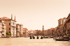 Gondolas on Grand Canal in Venice Royalty Free Stock Photo