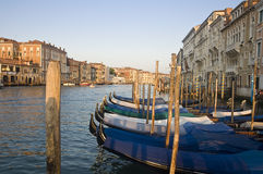 Gondolas on Grand Canal in Venice Stock Images